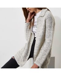 River Island Gray Grey Fur Collar Jersey Swing Coat