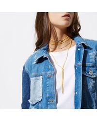 River Island - Yellow Diamante Circle Bolo Choker - Lyst