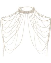 River Island | Metallic Gold Tone Diamante Draped Choker Harness | Lyst