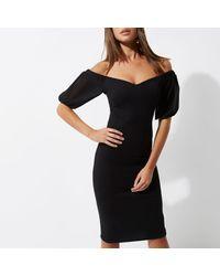 River Island Black Puff Sleeve Bardot Bodycon Dress
