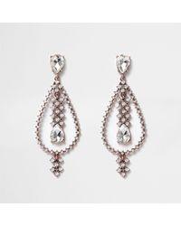 River Island - Metallic Rose Gold Tone Teardrop Dangle Earrings - Lyst