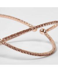 River Island - Metallic Rose Gold Tone Diamante Pave Kiss Ring - Lyst