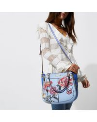 River Island Blue Floral Embroidered Scoop Tote Bag