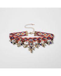 River Island | Orange Aztec Jewel Embellished Choker | Lyst