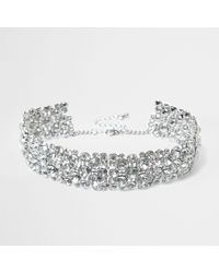 River Island - Metallic Silver Diamante Chain Choker - Lyst