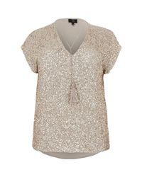 River Island Metallic Plus Gold Sequin Tassel Front T-shirt