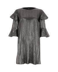 River Island   Metallic Silver Foil Frill T-shirt Dress   Lyst