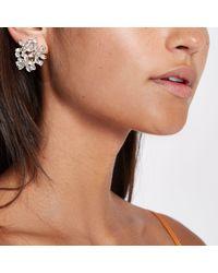 River Island - Metallic Gold Tone Jewel Cluster Clip On Earrings - Lyst