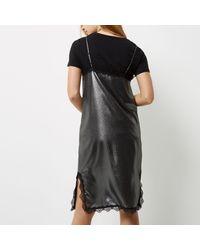 River Island Gray Silver Metallic Lace Trim Midi Slip Dress