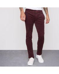 River Island Red Dark Cord Skinny Smart Trousers for men