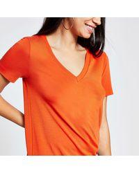 River Island Orange Premium Jersey V Neck T-shirt