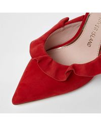 River Island Red Suede Frill Court Style Mules