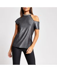 River Island Black Metallic Cold Shirt Embellished Top