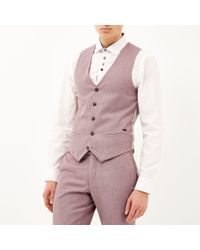 River Island Red Linen-blend Smart Waistcoat for men