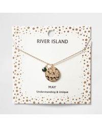 River Island - Green Gem May Birthstone Necklace - Lyst