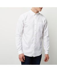 River Island White Casual Oxford Shirt for men
