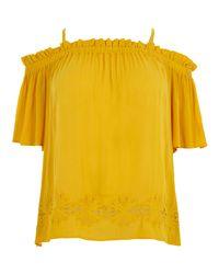 River Island Plus Yellow Shirred Bardot Top