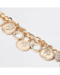 River Island - Metallic Tone Chain Coin And Circle Bracelet - Lyst