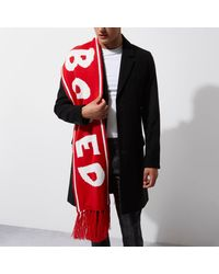 River Island Red Snow Board Word Scarf for men