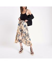 River Island Natural Floral Wide Leg Trousers