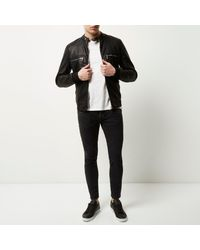 River Island Black Sid Cropped Skinny Jeans for men