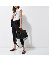River Island - Black Leather Zip Front Bowler Bag - Lyst
