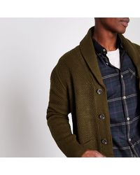 River Island Multicolor Khaki Green Shawl Neck Button-up Cardigan for men