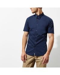 River Island - Blue Short Sleeve Muscle Fit Shirt for Men - Lyst