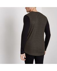 River Island Multicolor Ribbed Muscle Fit Block Sleeve T-shirt for men