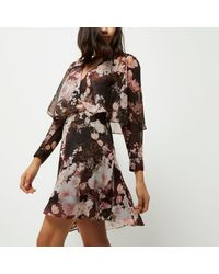 River Island Black Floral Print Wrap Front Mini Dress