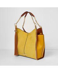 River Island Yellow Whipstitch Chain Tassel Slouch Bag Yellow Whipstitch Chain Tassel Slouch Bag