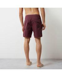 River Island Dark Red Pocket Board Shorts for men