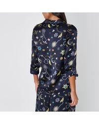 River Island Blue Navy Jewel Print Satin Pyjama Shirt