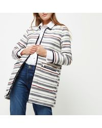 River Island Navy Blue Striped Trophy Coat