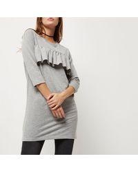 River Island Gray Grey Frill Panel Oversized T-shirt