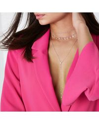 River Island | Pink Rose Gold Diamante Layer Plunge Choker Set Rose Gold Diamante Layer Plunge Choker Set | Lyst