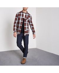River Island Red Button-down Long Sleeve Check Shirt for men
