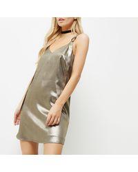 River Island Multicolor Petite Metallic Khaki Ring Strap Slip Dress