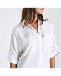 River Island - White Midi Shirt Dress - Lyst