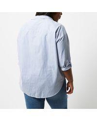 River Island - Plus Blue And White Stripe Shirt - Lyst