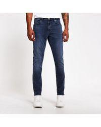 River Island Dark Blue Sid Skinny Jeans for men