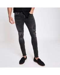 River Island Black Wash Jerry Ripped Super Skinny Jeans for men
