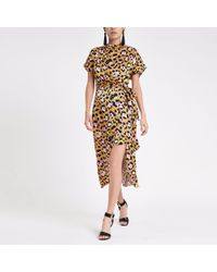 Neck With Island Shift River Print Dress Yellow High In in Leopard nk0w8OP