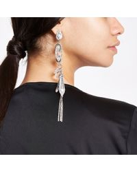 River Island - Metallic Silver Tone Diamante And Jewel Drop Earrings - Lyst