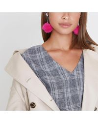 River Island - Bright Pink Pom Pom Drop Earrings - Lyst