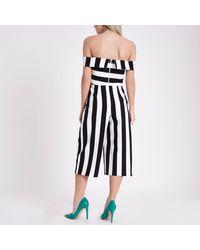 River Island Petite Black Stripe Bardot Culotte Jumpsuit