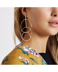 River Island Metallic Tone Interlink Circle Drop Earrings
