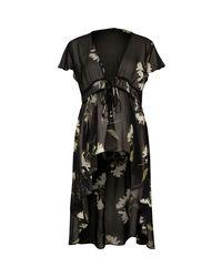 River Island Black Floral Tie Front Kimono
