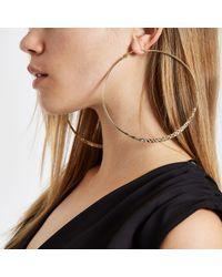 River Island Metallic Gold Colour Crosshatch Large Hoop Earrings