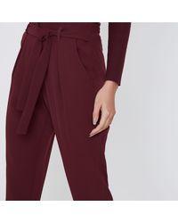 River Island Purple Burgundy Tie Waist Tapered Trousers